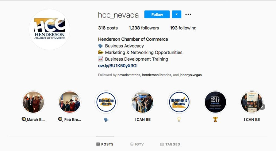 Henderson Chamber of Commerce Instagram Page