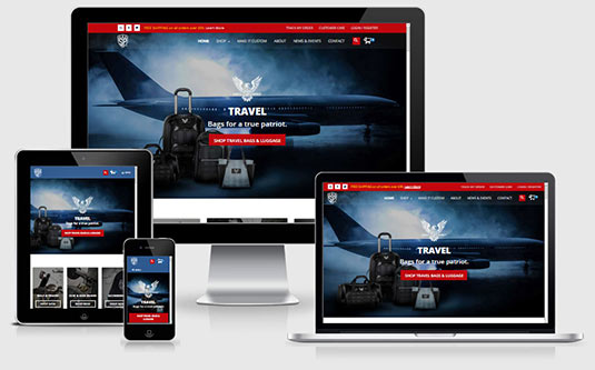 The banner for website services features a responsive website on 4 devices
